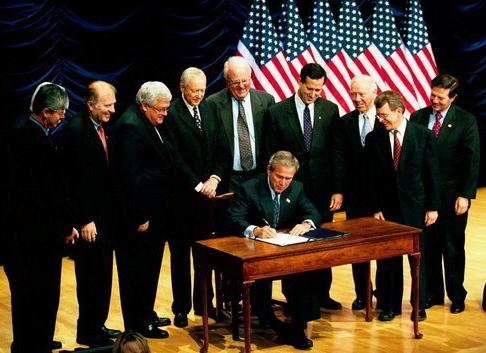 Bush assinando lei à revelia das mulheres