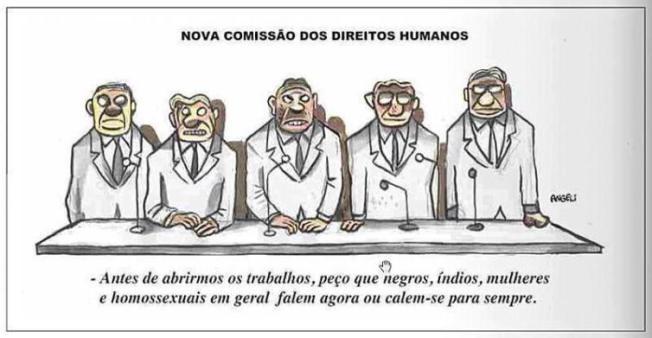 Charge, do cartunista Angeli, sobre a eleição do dep. Pastor Marcos Feliciano para a Comissão de Direitos Humanos e Minorias da Câmara dos Deputados.