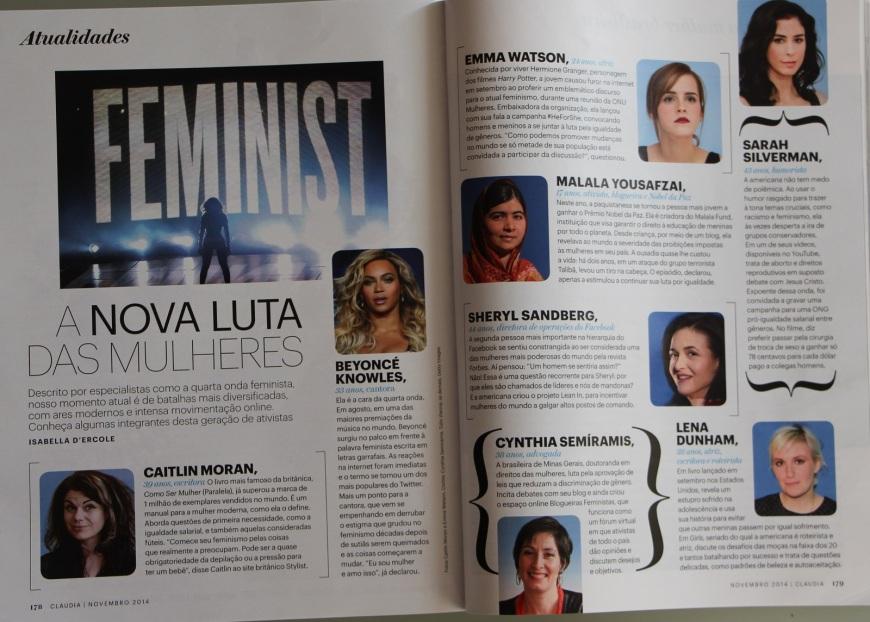 Citação como integrante brasileira da nova geração de feministas. Revista  Cláudia, novembro de 2014.
